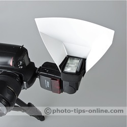 Promaster Universal Bounce Flash Reflector: portrait camera orientation, mounted on a narrow side of the flash