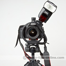 Ray Flash Rotator flash bracket: front view, flash is positioned about 30 degrees to the left of the camera