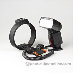 Ray Flash Rotator flash bracket: compared to the size of Canon Speedlite 580EX II