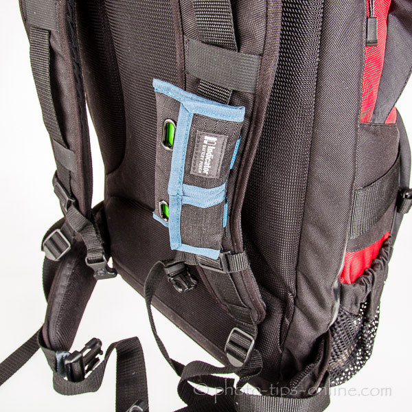 Rogue Indicator Battery Pouch: mounted on a backpack strap