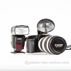 Rogues Safari pop-up flash booster: compared to a flashgun, Canon 580EX II