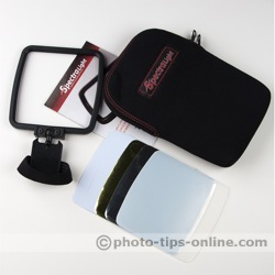 SpectraLight flash diffuser: frame, reflectors, stickers, case, manual