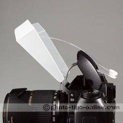 Speedlight Pro Kit Mini Bounce: side view, on camera
