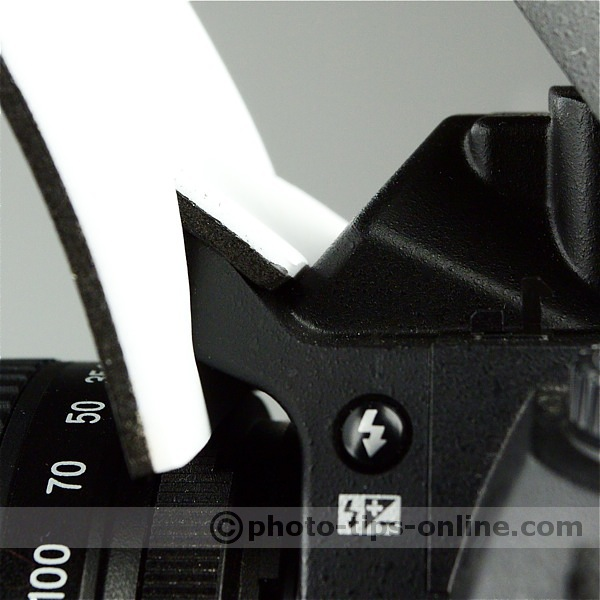 Zeh Bounce pop-up flash reflector: attachment close up