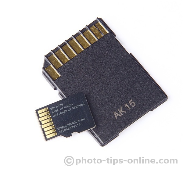 Samsung microSD card and included SD adapter: back, contacts