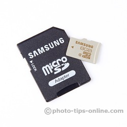 Samsung microSD card and included SD adapter: front
