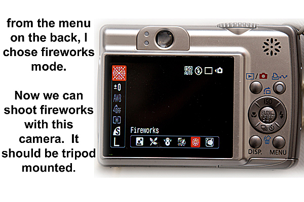 Fireworks photography tips: Preset menu, Fireworks mode selected